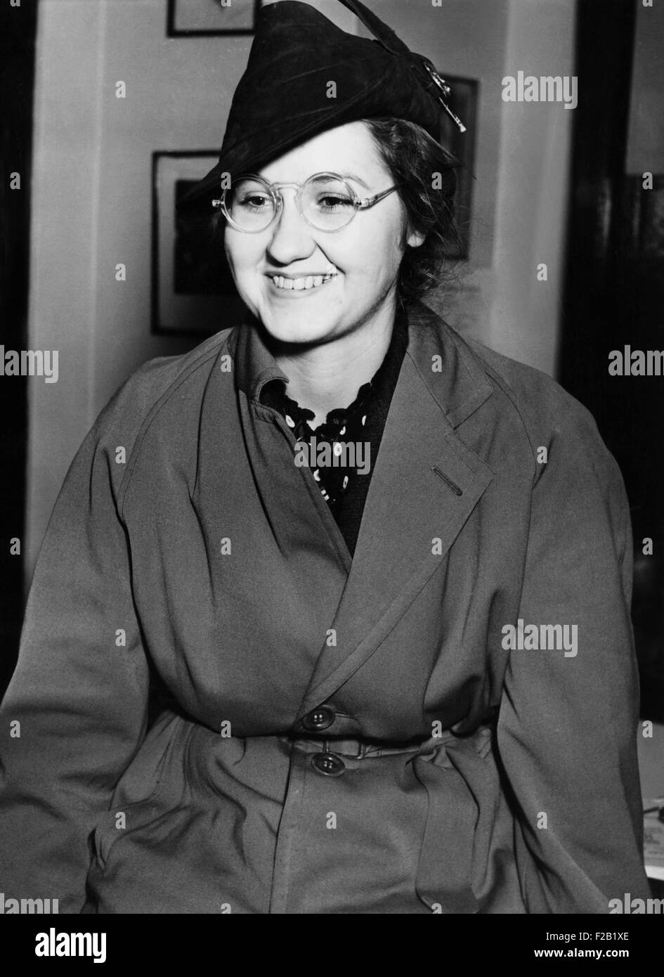 Mrs. Francis Flegenheimer, widow of the slain gangster Dutch Schultz, Feb. 3, 1938. Her lawyers were preparing to - Stock Image