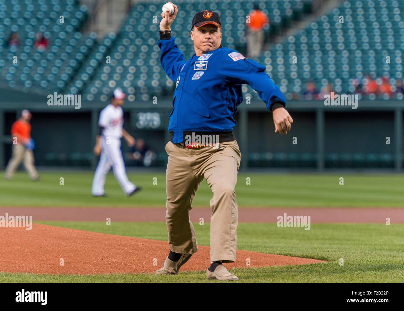 NASA astronaut and Maryland native, Terry Virts throws out the ceremonial first pitch before the Boston Red Sox - Stock Image