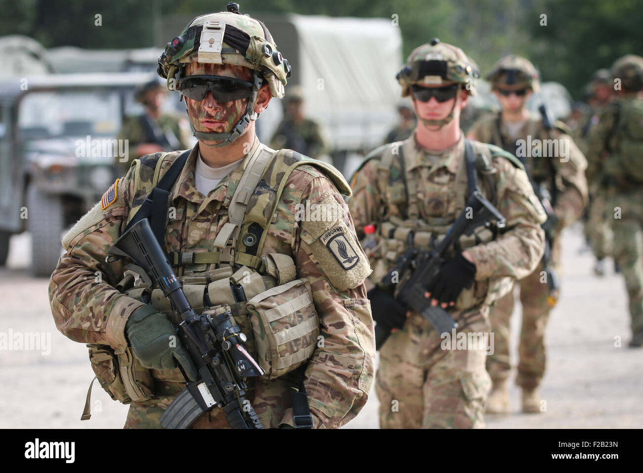 U.S. Army 173rd Airborne Brigade Soldiers head into the field to take part  in exercise Immediate Response September 14, 2015 in Slunj, Croatia.  Immediate Response is a multinational field training exercise in