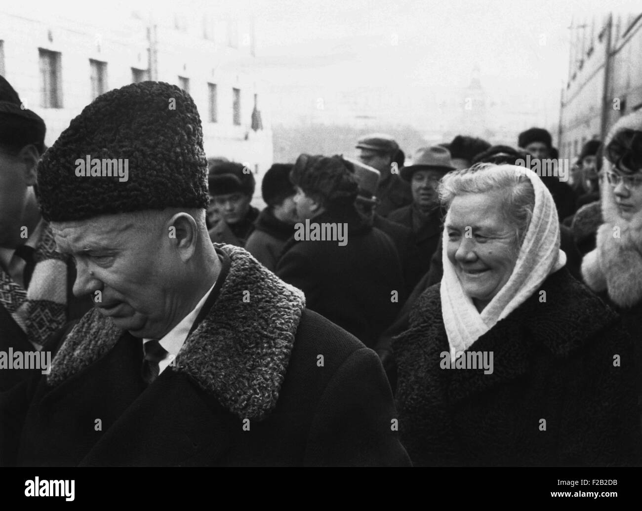 Retired Premier Nikita Khrushchev and his wife at a municipal election polling station. Moscow, 1965. (CSU_2015 - Stock Image