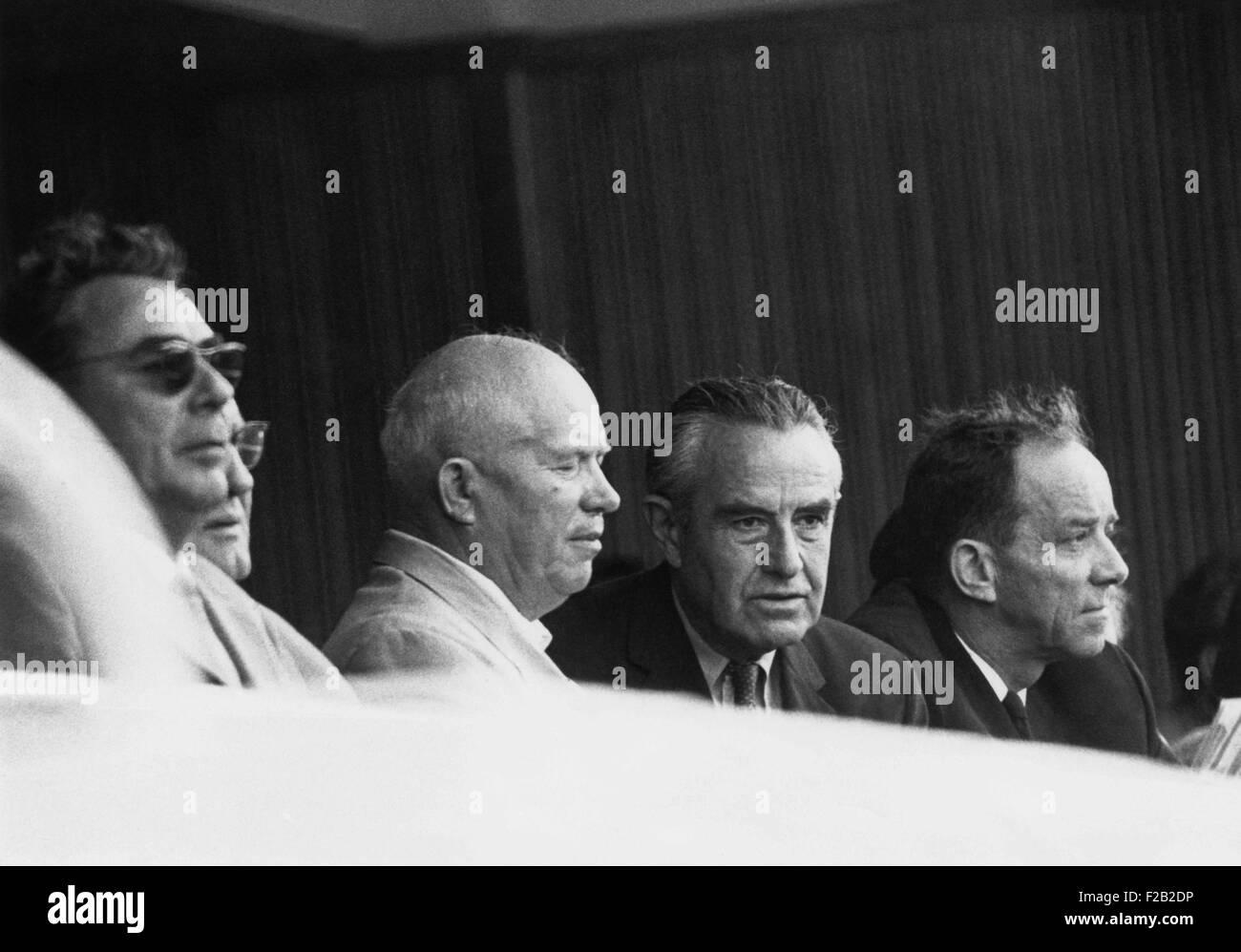Nuclear Test Ban Treaty talks underway, July 21, 1963. Soviet Premier Nikita Khrushchev and Undersecretary of State - Stock Image