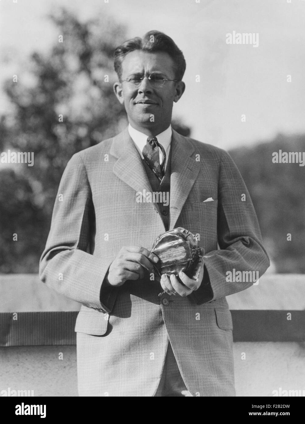 Ernest Orlando Lawrence, American nuclear physicist in 1935. He received a patent for the cyclotron in 1934. In 1939 he won the Stock Photo