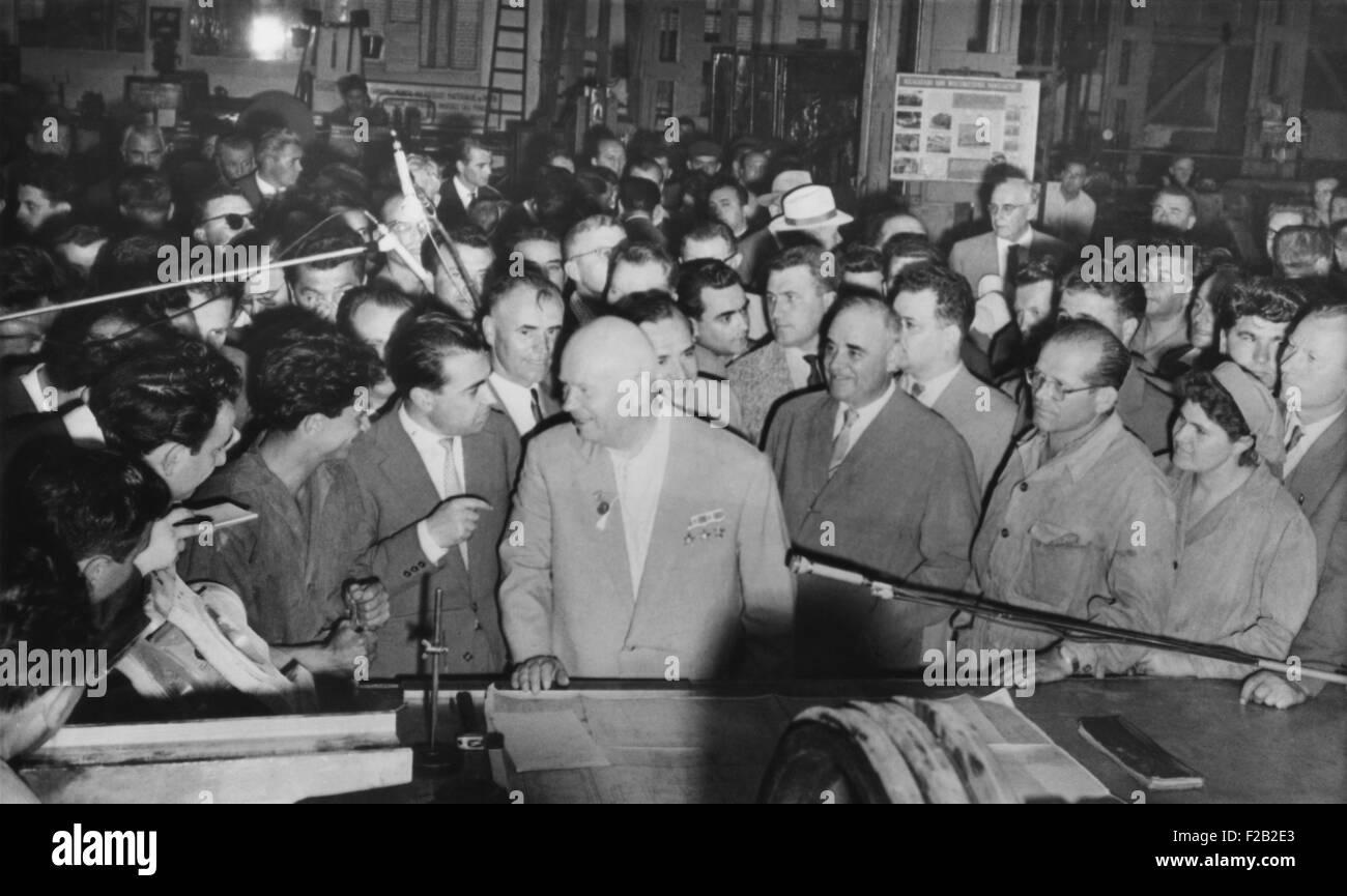 Soviet Premier Nikita Khrushchev (center) with workers in the Grivita Rosie railroad workshop. Bucharest, Romania, - Stock Image