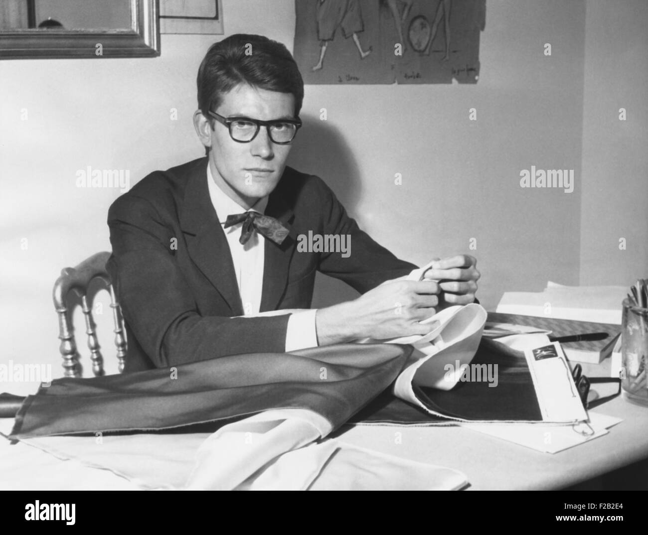 Yves Saint Laurent opened his couture fashion house in Paris in 1961. House of Yves Saint Laurent presented its - Stock Image