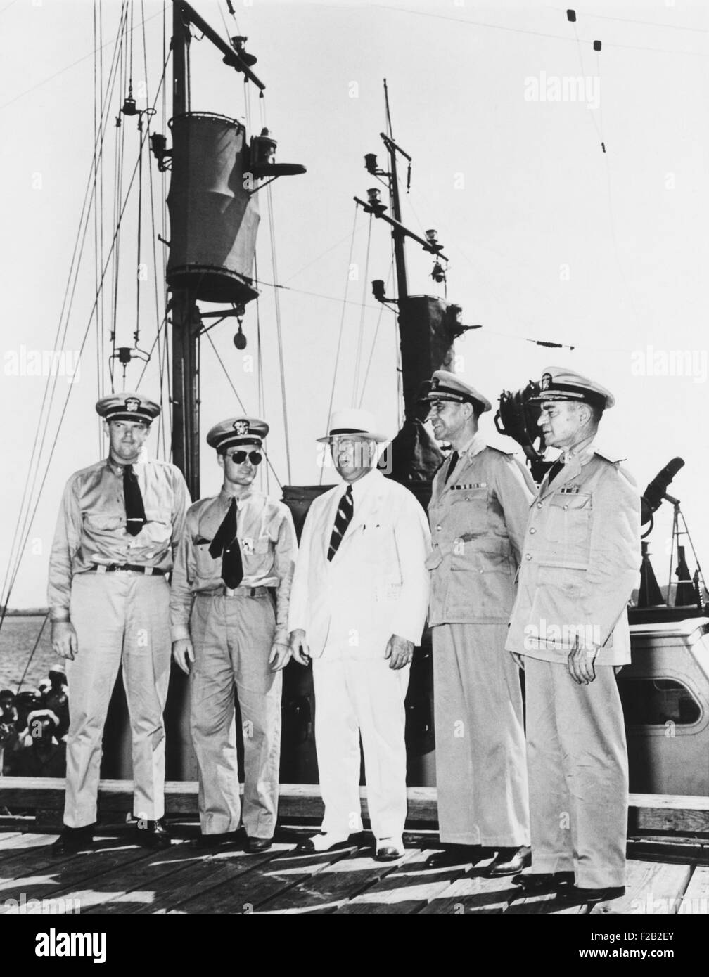 Navy Secretary Frank Knox on inspection tour to heighten anti-submarine defenses. July 19, 1942 in Charleston, SC. Stock Photo