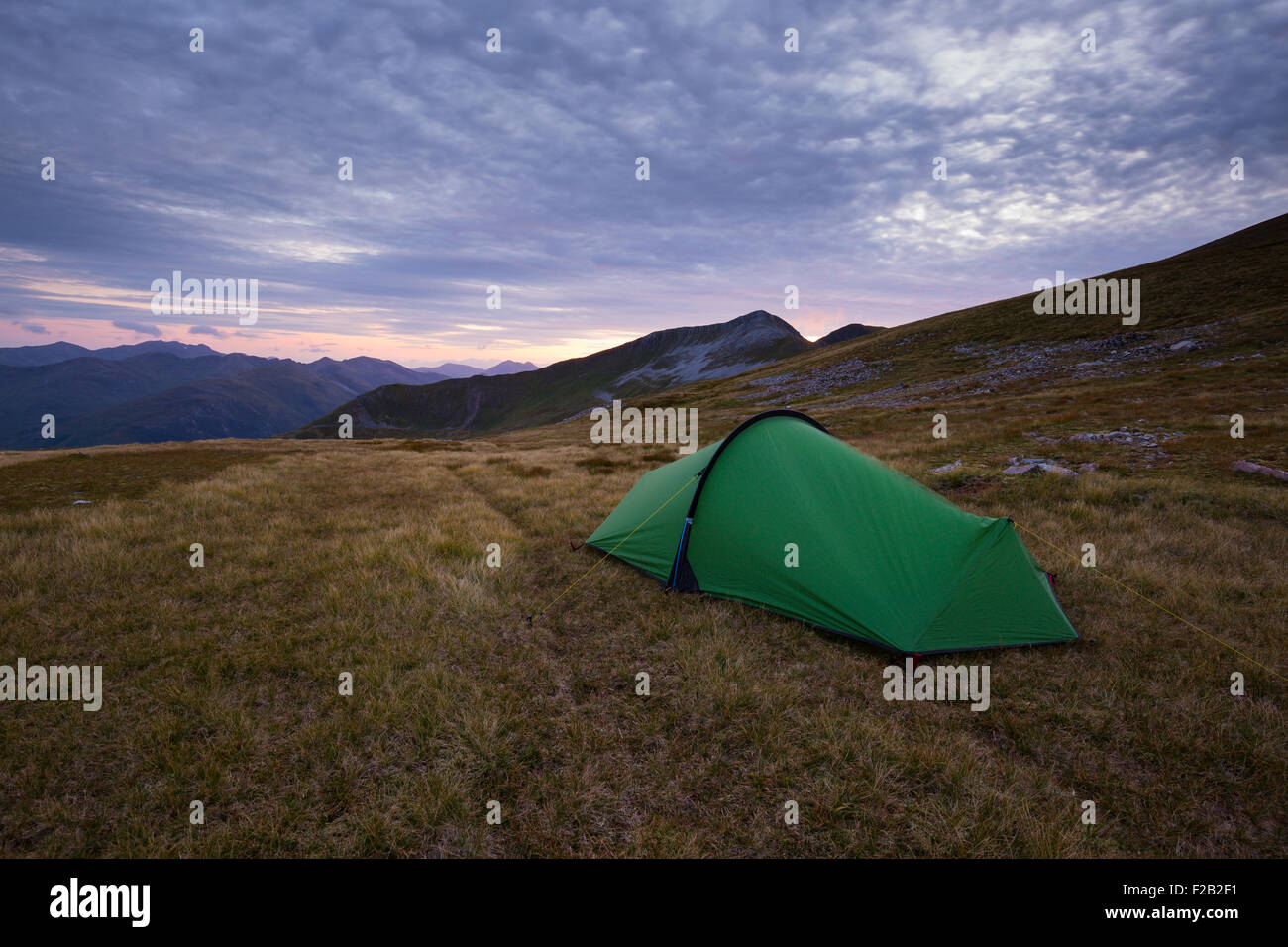 A tent on higher levels in the Mamores at sunset - Stock Image