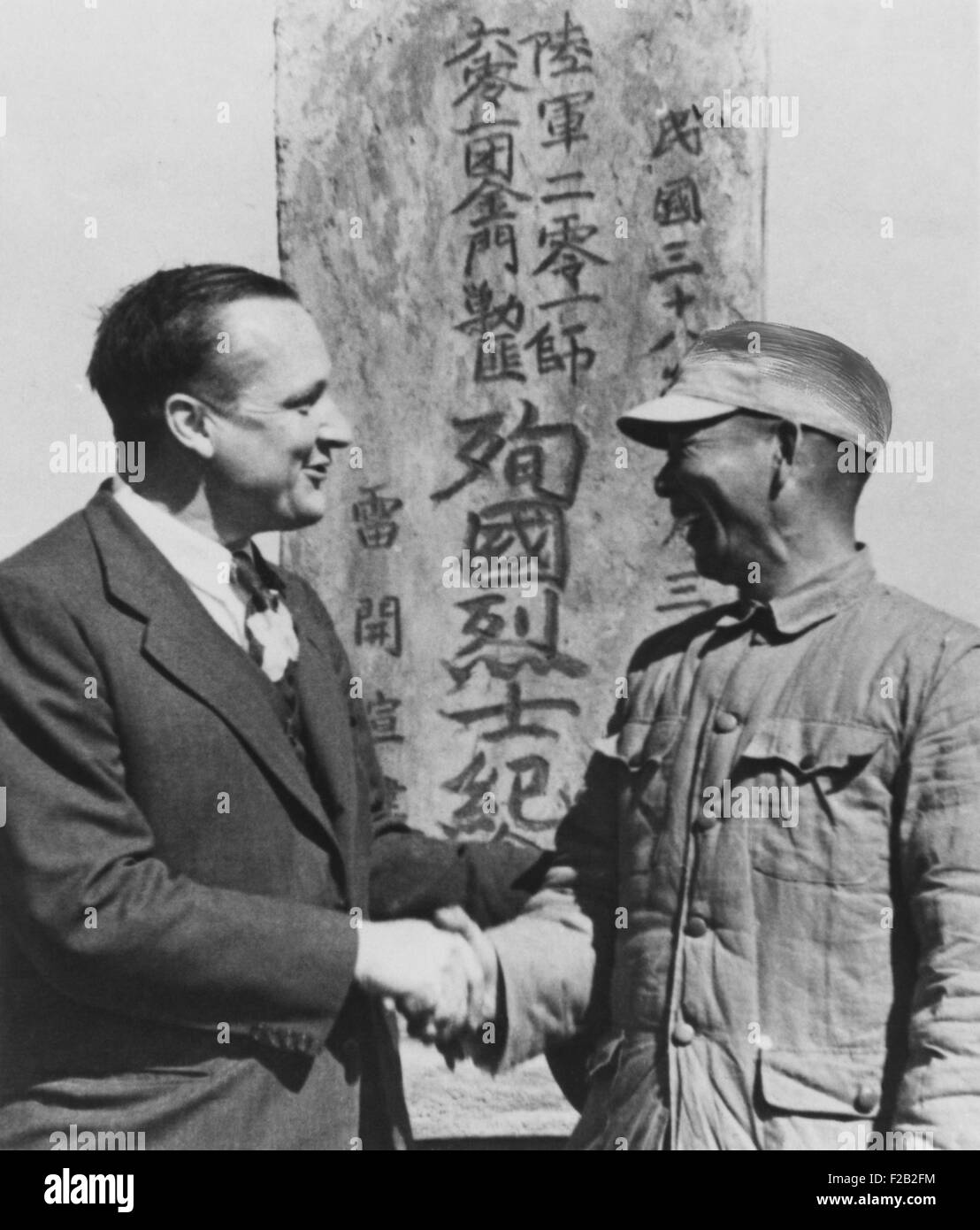 Sen. William Knowland talks with Chinese Nationalist General Hu Lien on Formosa. Nov-Dec. 1950. Chiang Kai Shek's - Stock Image