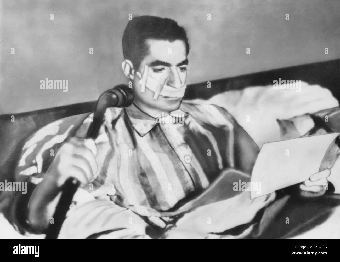 Shah of Iran after an assassination attempt on Feb. 4, 1949. Fakhr-Arai fired five shots from ten feet away but - Stock Image