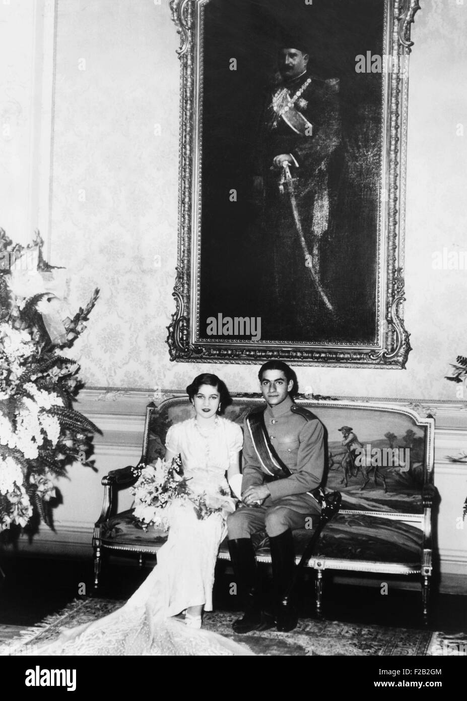 Crown Prince Mohammed Reza of Iran and his Egyptian bride, Princess Fawzia. She is the sister of King Farouk of - Stock Image