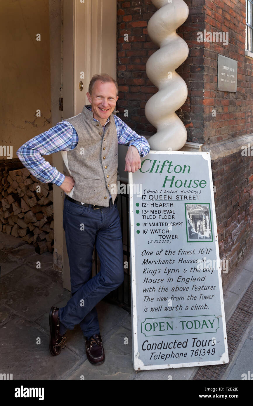 Simon Thurley, the former Chief Executive of English Heritage,  outside his historic home - Clifton House, in Kings - Stock Image
