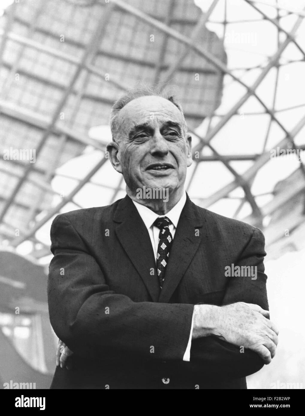 Robert Moses in front of the New York's World Fair signature structure, the Unisphere. August 1964. Moses was - Stock Image