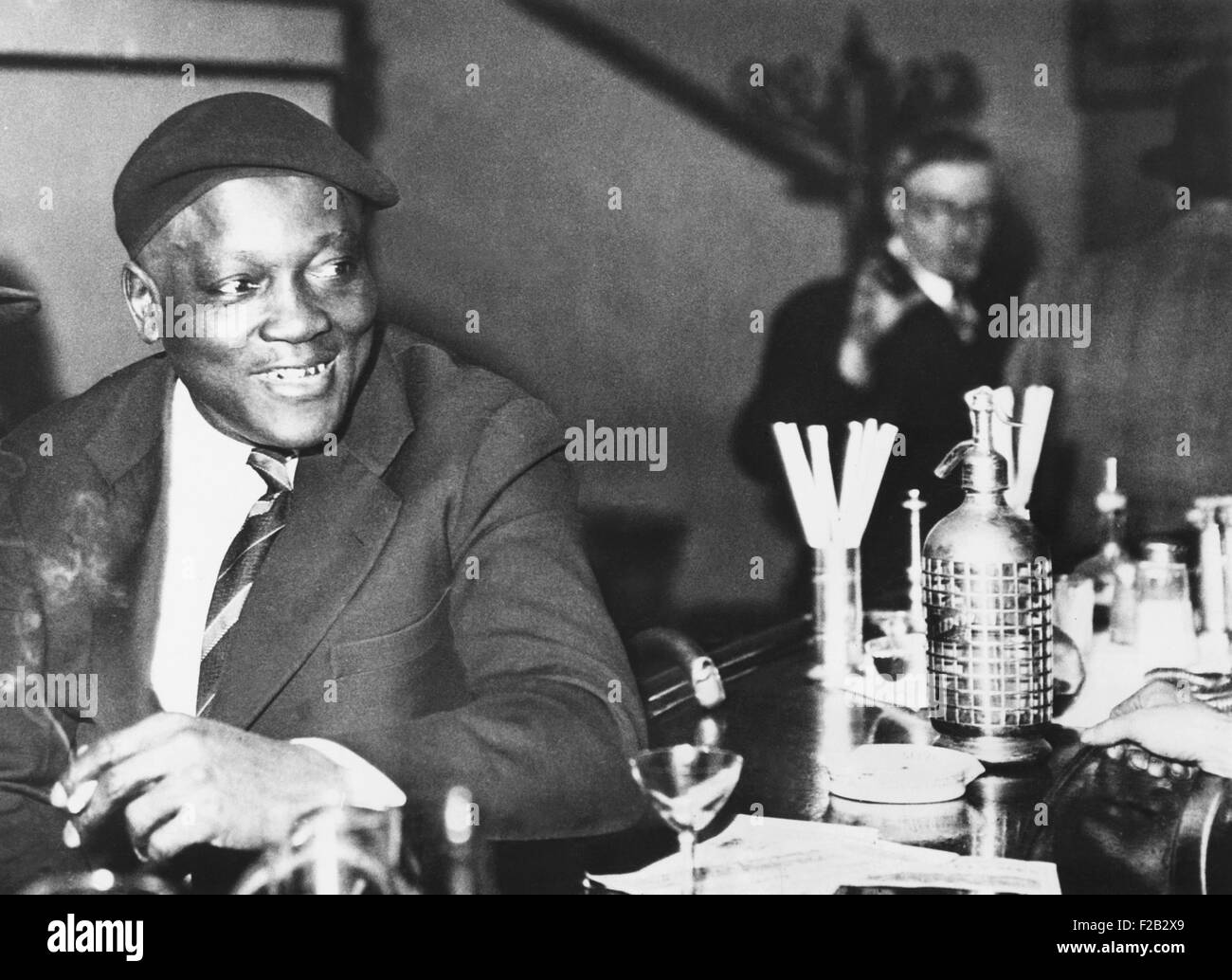 Jack Johnson former heavyweight champion in Paris April 4, 1933. Jack Johnson lived in Paris before World War 1, - Stock Image