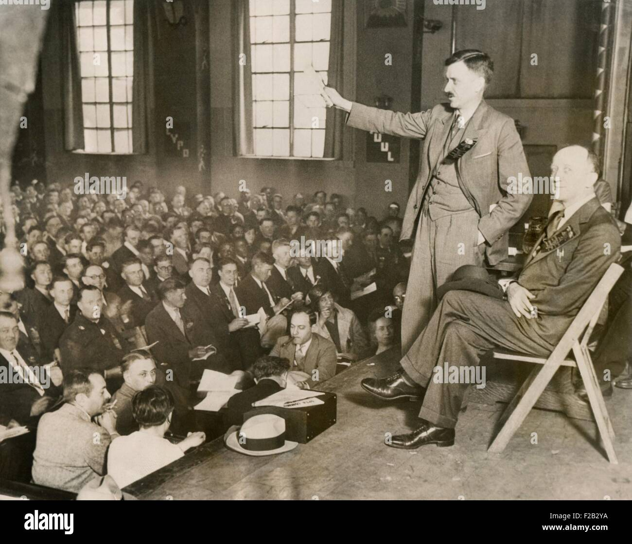 Earl Browder, making the keynote address at the Communist Party Convention, Chicago, May 29, 1932. Browder was National - Stock Image