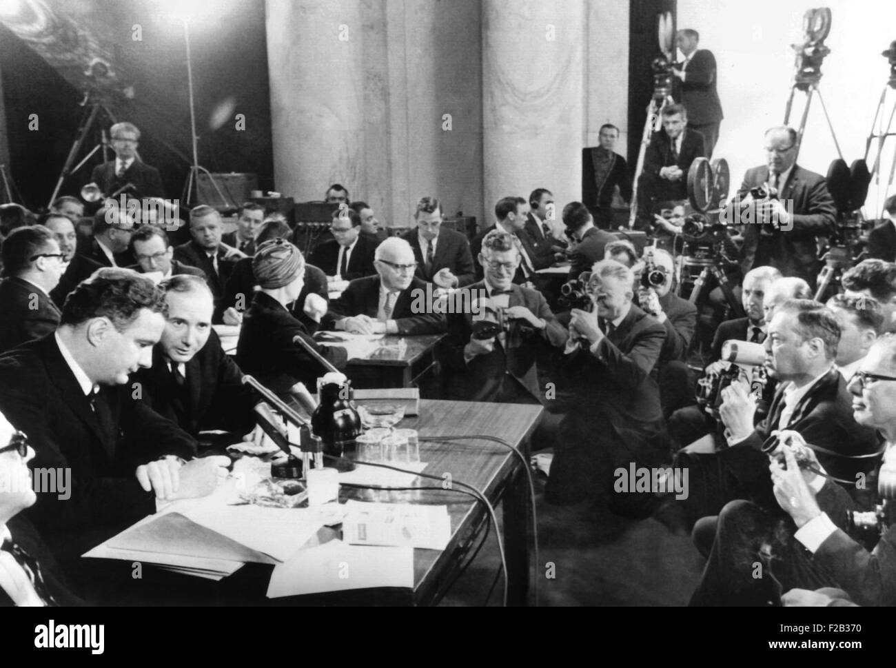 Former Senate aide Bobby Baker (2nd from left) before the Senate Rules Committee. Feb. 25, 1964. He was questioned - Stock Image