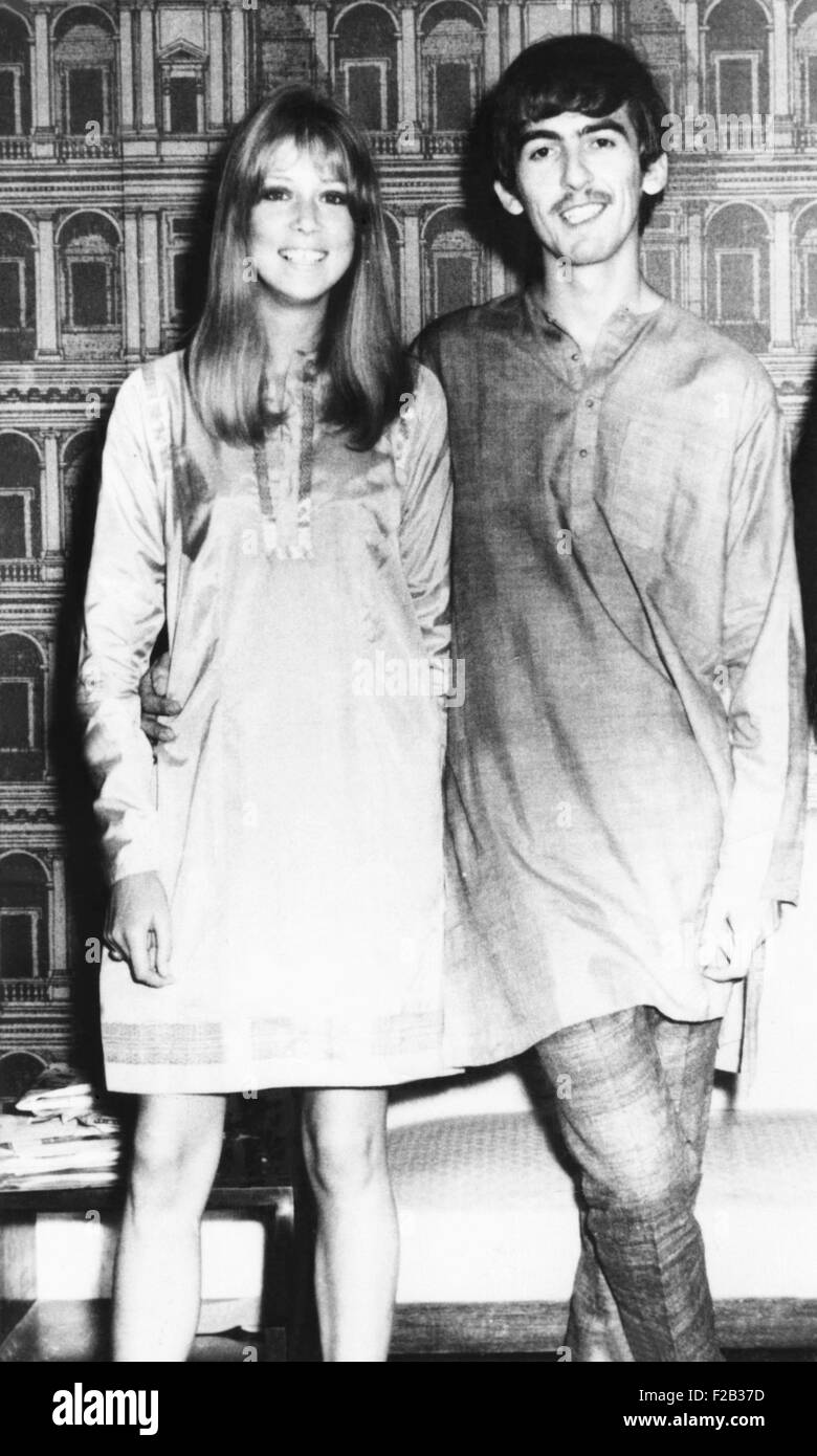 George Harrison and wife Pattie wearing traditional Indian outfits in Mumbai (Bombay), India. Sept 29, 1966. George - Stock Image