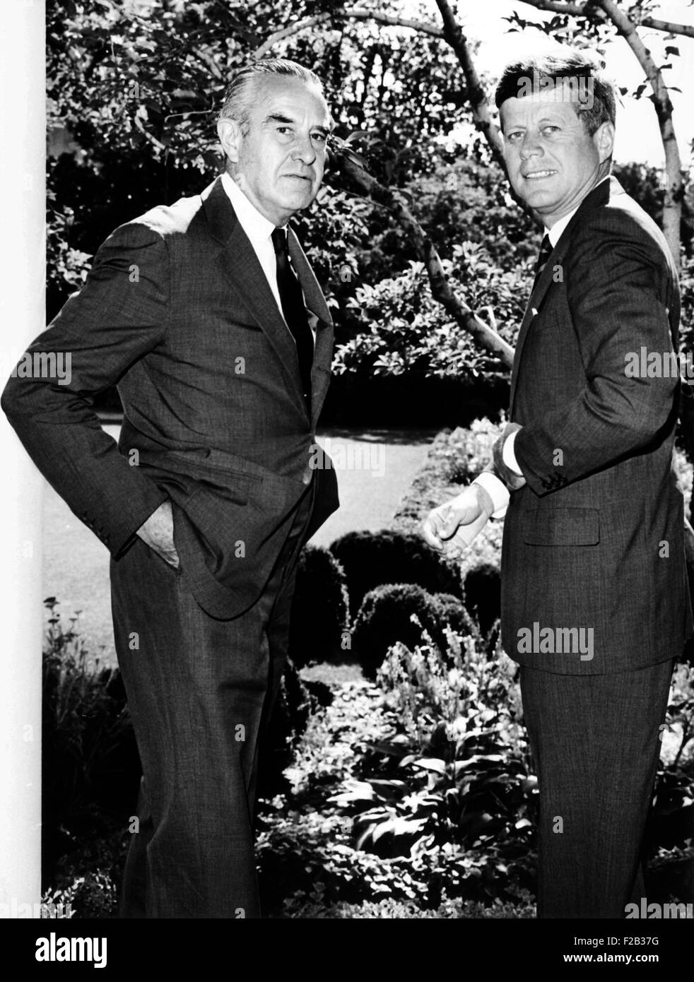 President John Kennedy and Averill Harriman outside the President's West Wing office. July 18, 1963. In addition - Stock Image