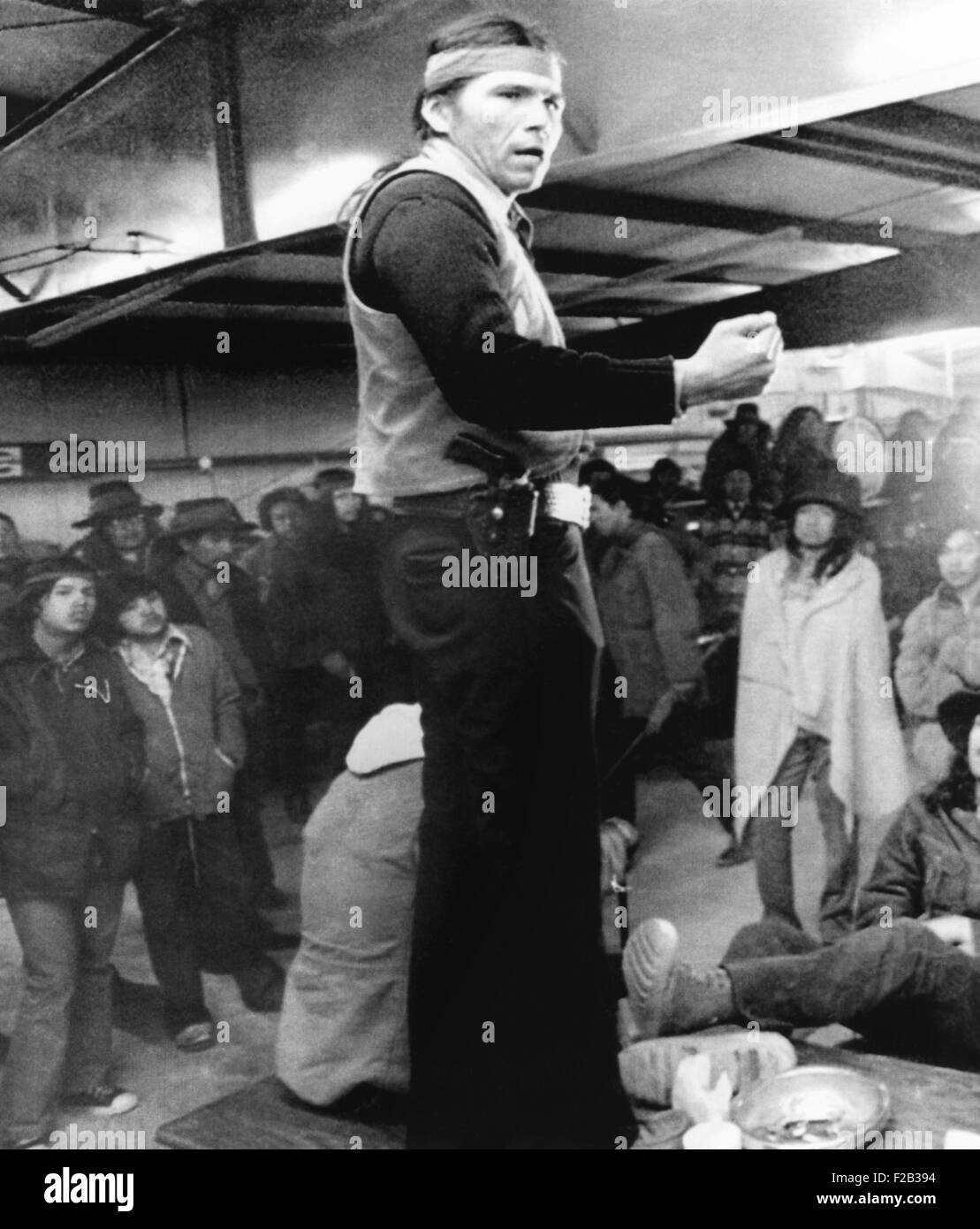 Dennis Banks, speaks to the Indians during the occupation Wounded Knee in 1973. About 200 Native Americans were - Stock Image