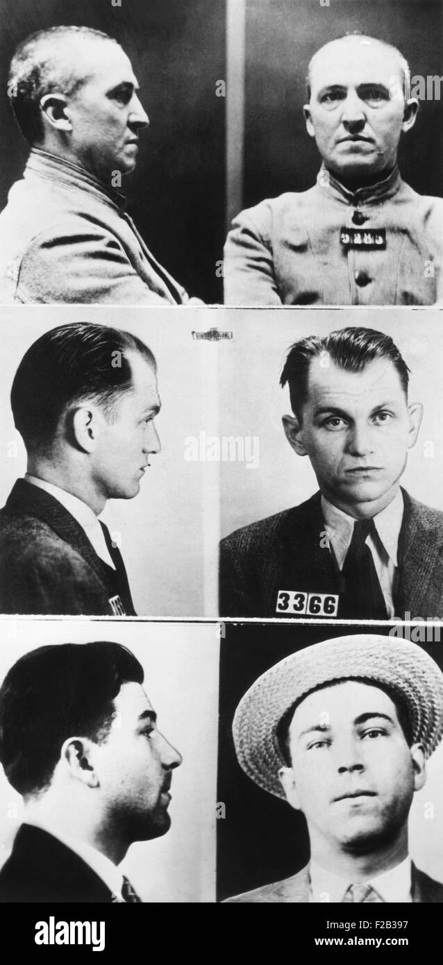 Three of gangsters hunted by Federal agents, Dec. 16, 1933. From Top: Charles Connors, middle aged international - Stock Image