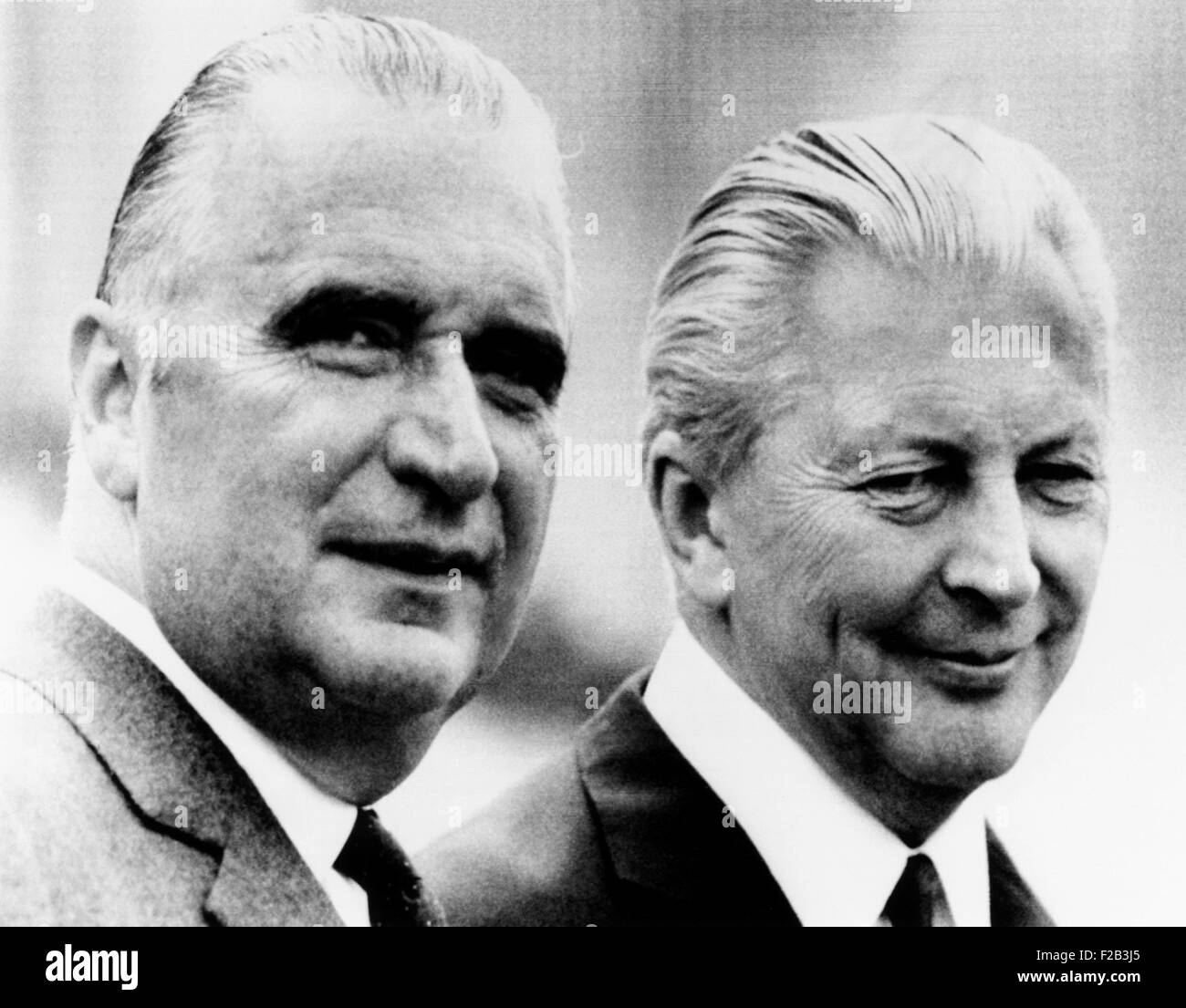 French President Georges Pompidou (left) with West German Chancellor Kurt Kiesinger. It is Pompidou's first official - Stock Image