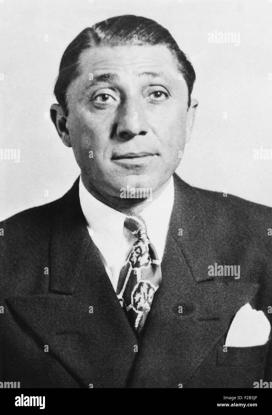 Frank 'The Enforcer' Nitti was a first cousin of Al Capone. In March 1943 he was indicted with several other - Stock Image