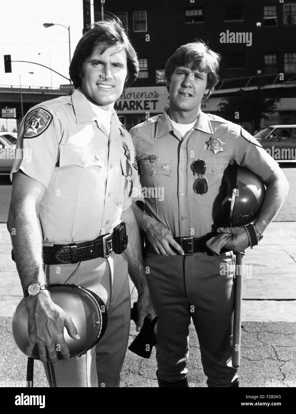 Bruce Jenner as Officer Steve McLeish with Larry Wilcox playing Jon Baker on 'CHiPs'. Jenner was the principle - Stock Image