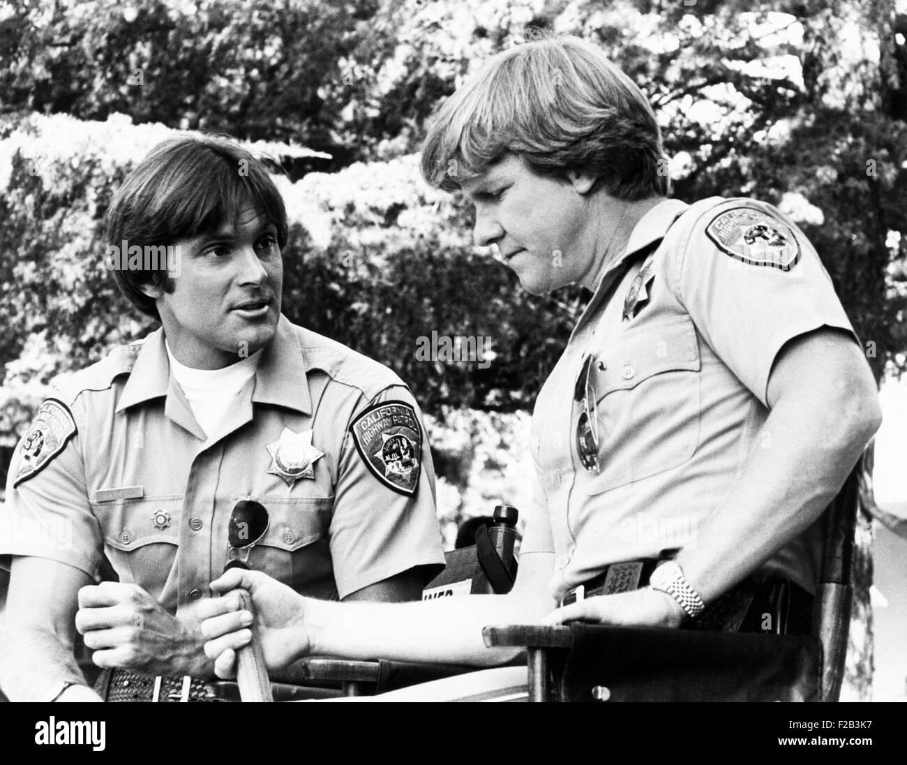 Bruce Jenner as Officer Steve McLeish and Larry Wilcox as Jon Baker on 'CHiPs'. Jenner guest starred, substituting - Stock Image
