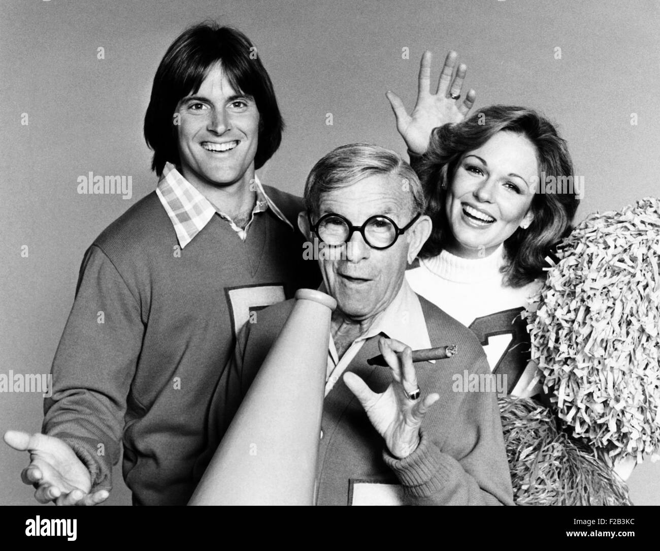 Bruce Jenner, George Burns and Phyllis George. The Olympic Champion, Veteran Comedian, and 1971 Miss America appeared Stock Photo