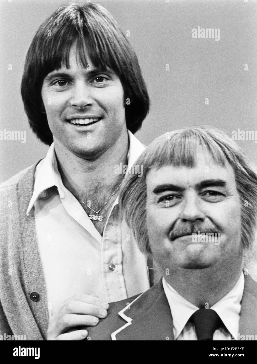 Bruce Jenner with Bob Keeshan in August 1978. Keeshan created and played the character 'Captain Kangaroo'. - Stock Image