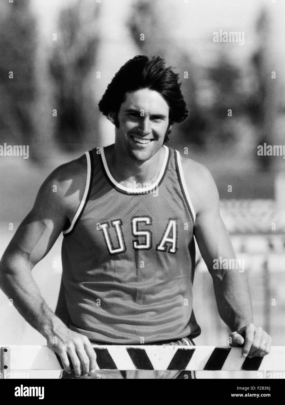 Bruce Jenner won the Decathlon in the 1976 Summer Olympic Games in Montreal. He scored a world record of 8618 points. - Stock Image
