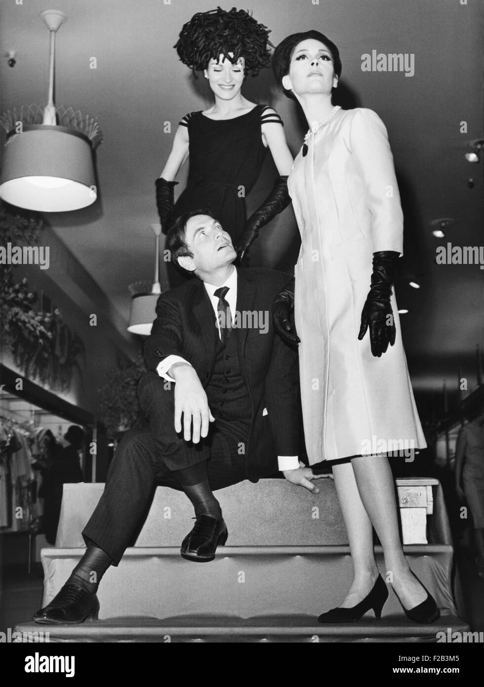 Pierre Cardin Italian Born French Fashion Designer With Models At Stock Photo Alamy