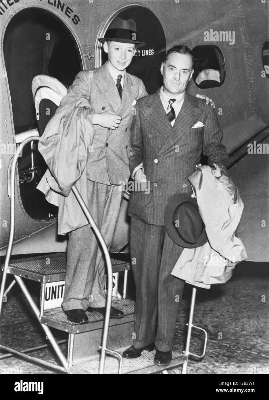 Sir Malcolm Campbell and his son Donald arrive in Salt Lake City.  The elder Campbell set his final land speed record, - Stock Image