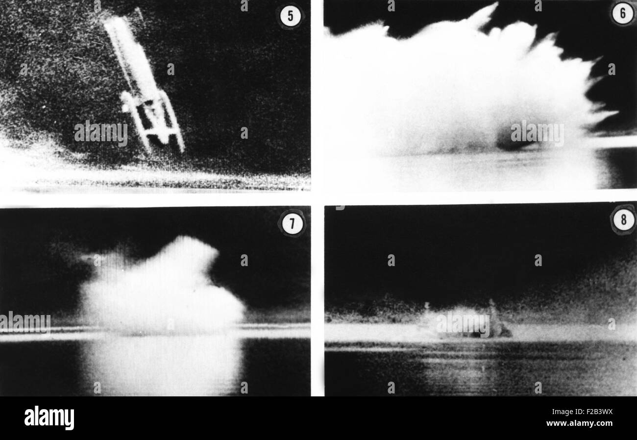 Donald Campbell was killed his jet powered boat, Bluebird K7, on Lake Coniston. Jan. 4, 1967. Campbell died strapped - Stock Image