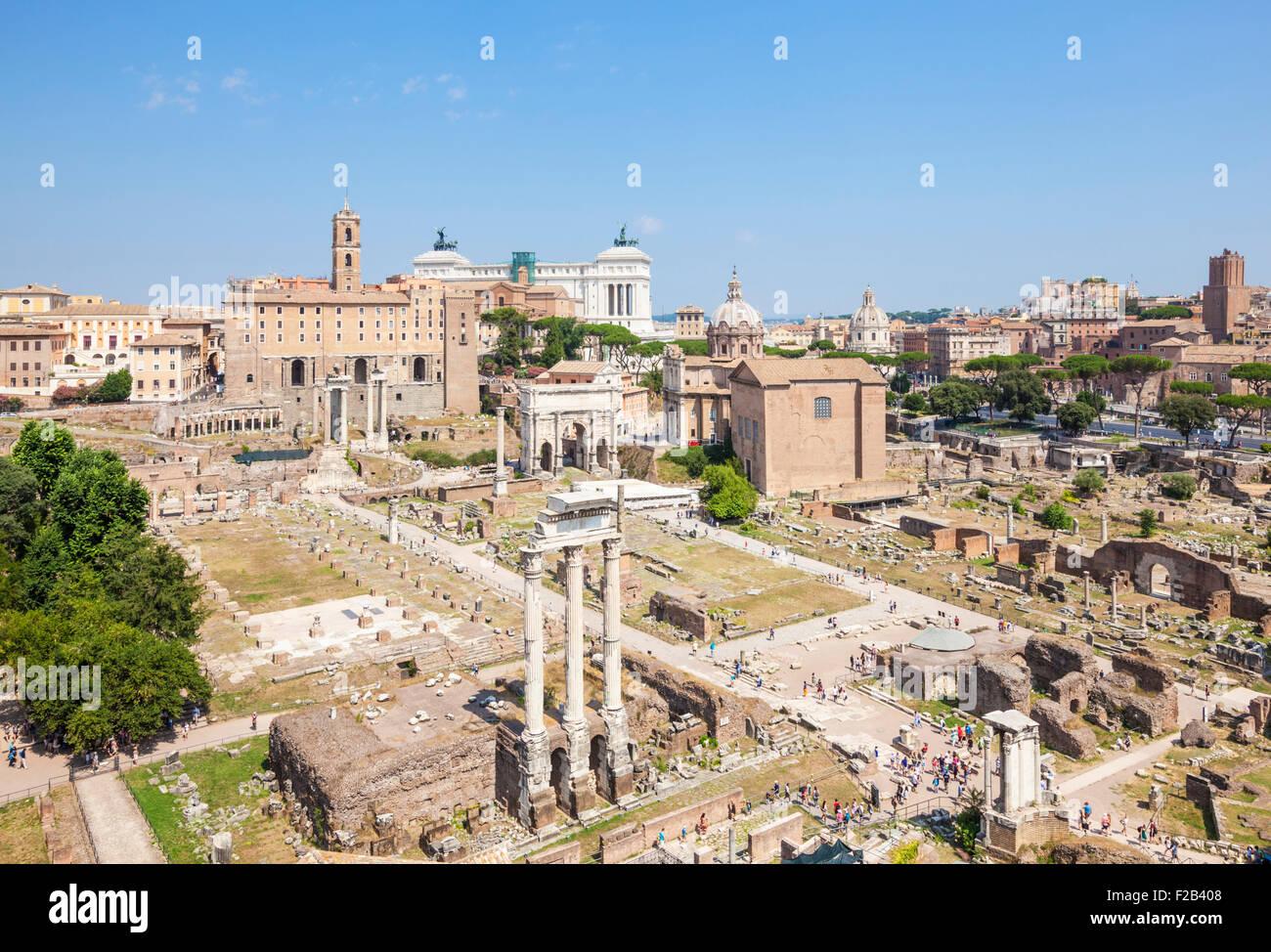 Roman Forum and Rome Skyline from the Palatine Hill viewpoint Rome Italy Roma Lazio  Italy EU Europe - Stock Image
