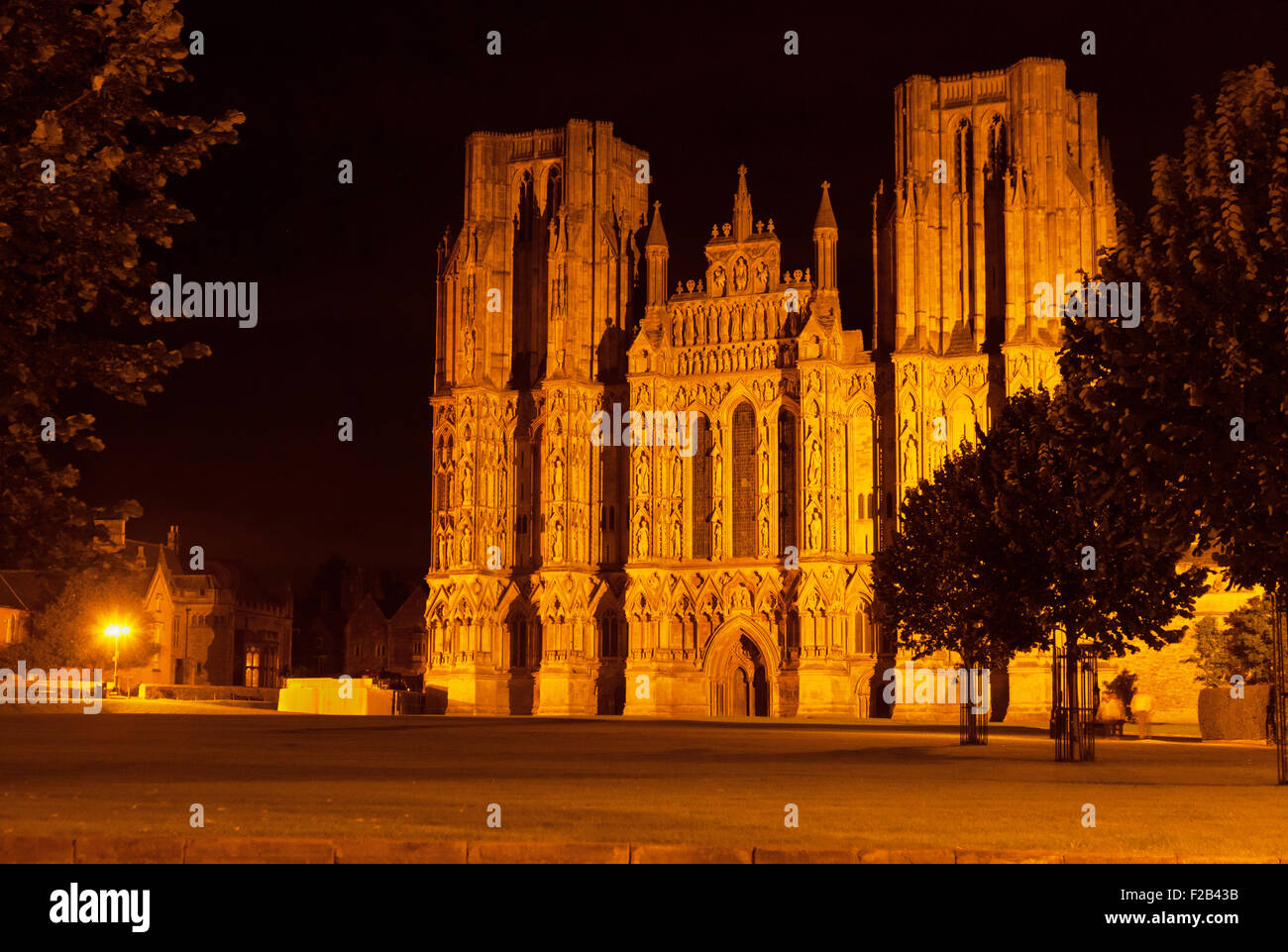 The west front of Wells Cathedral at night, floodlit, Wells, Somerset England UK - Stock Image