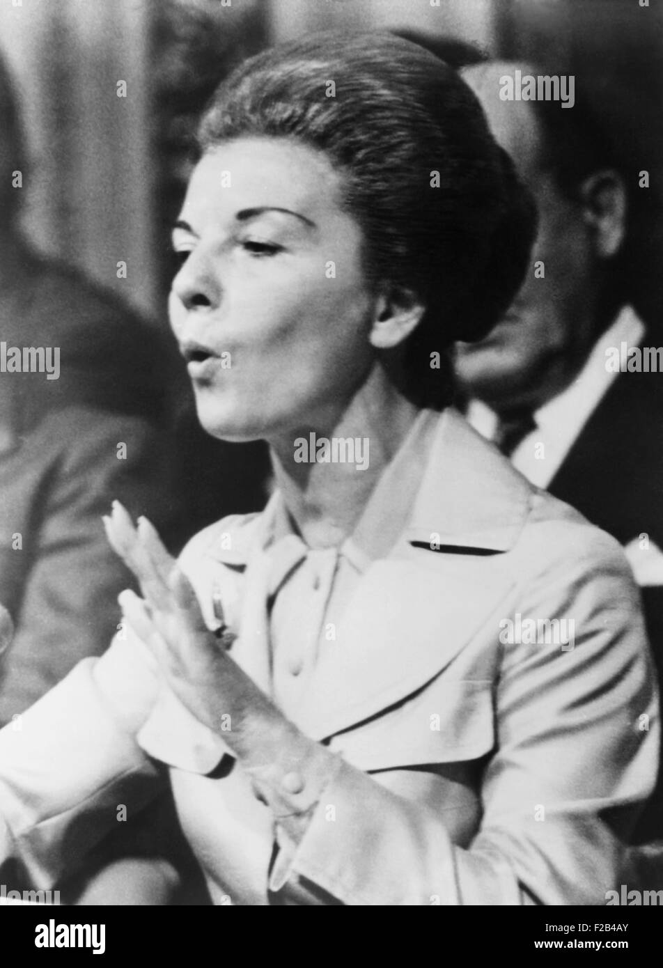 Head of State, Isabel Peron speaks at a trade union meeting, April 4, 1975. As her husband's Vice President, - Stock Image