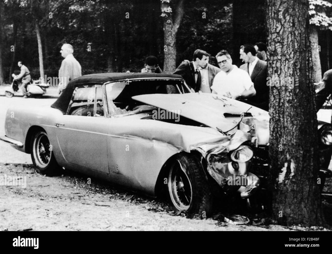The mangled Ferrari in which Porfirio Rubirosa died in an early morning auto accident. The 56 year old playboy and - Stock Image