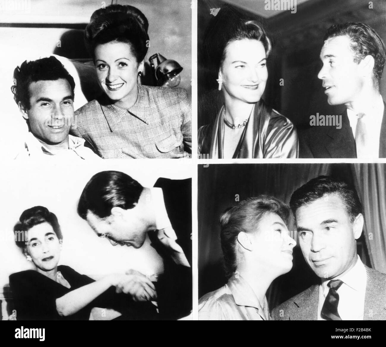 Porfirio Rubirosa with his four of his five wives. Top left: with actress Danielle Darrieux in 1944. Top right: - Stock Image