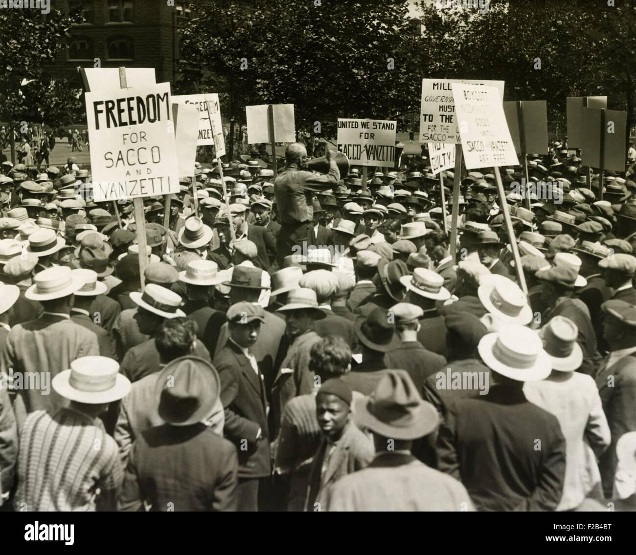 Socialists protest the death sentences of Nicola Sacco and Bartolomeo Vanzetti. Union Square, NYC. Ca. August 13, - Stock Image
