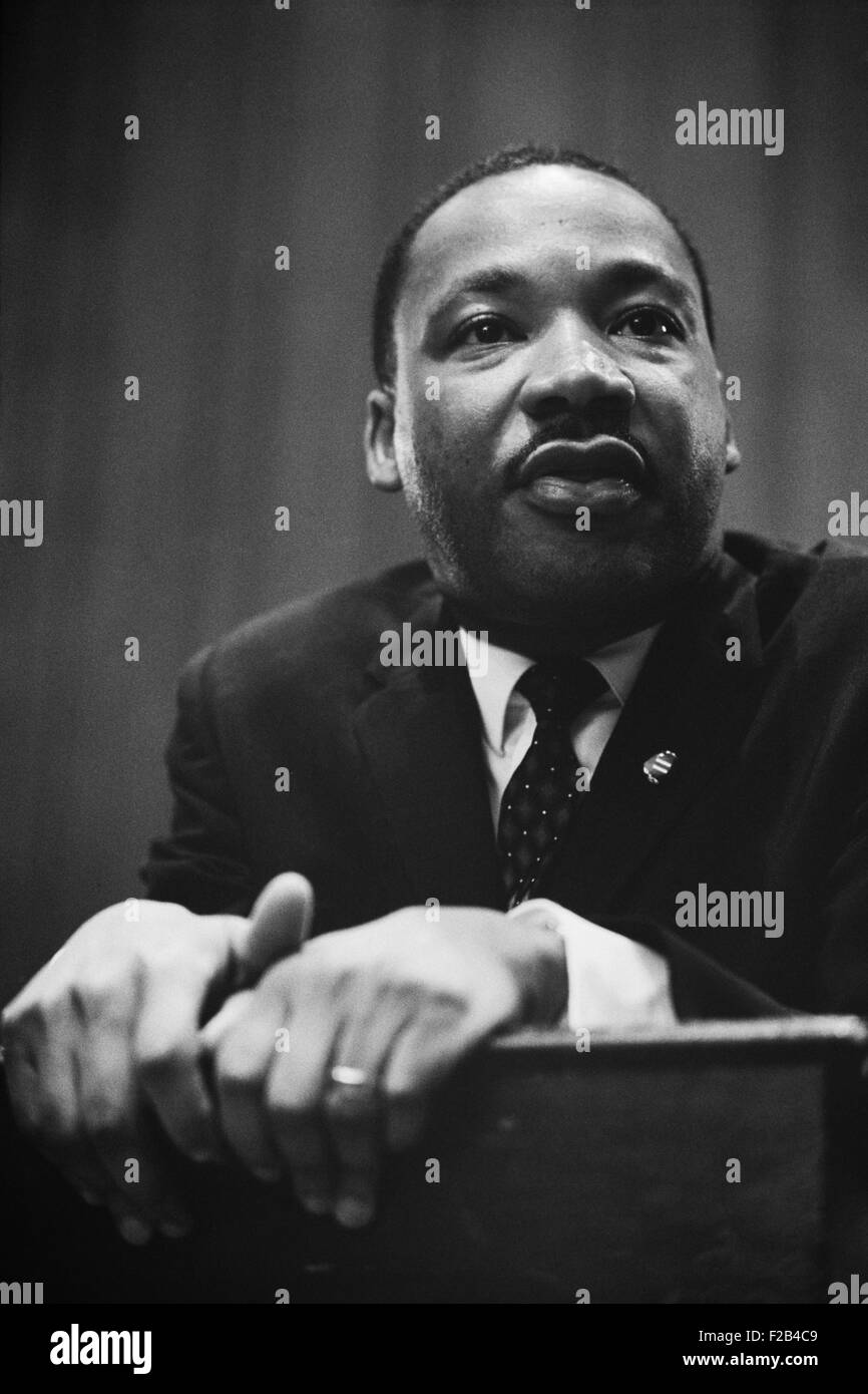 Martin Luther King at a press conference in Washington, D.C. on March 26, 1964. - (BSLOC_2015_1_97) - Stock Image