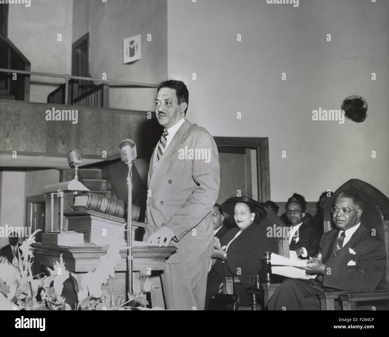Thurgood Marshall, speaking at NAACP Conference in Dallas March 24-26, 1950. He spoke about the Sweatt and McLaurin - Stock Image