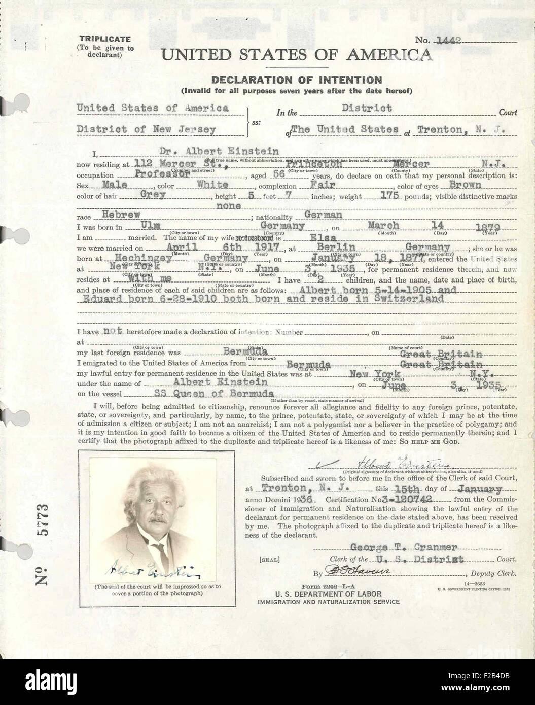 Albert Einstein's petition for naturalization. It was filed at U.S. District Court in Trenton, NJ while Einstein - Stock Image