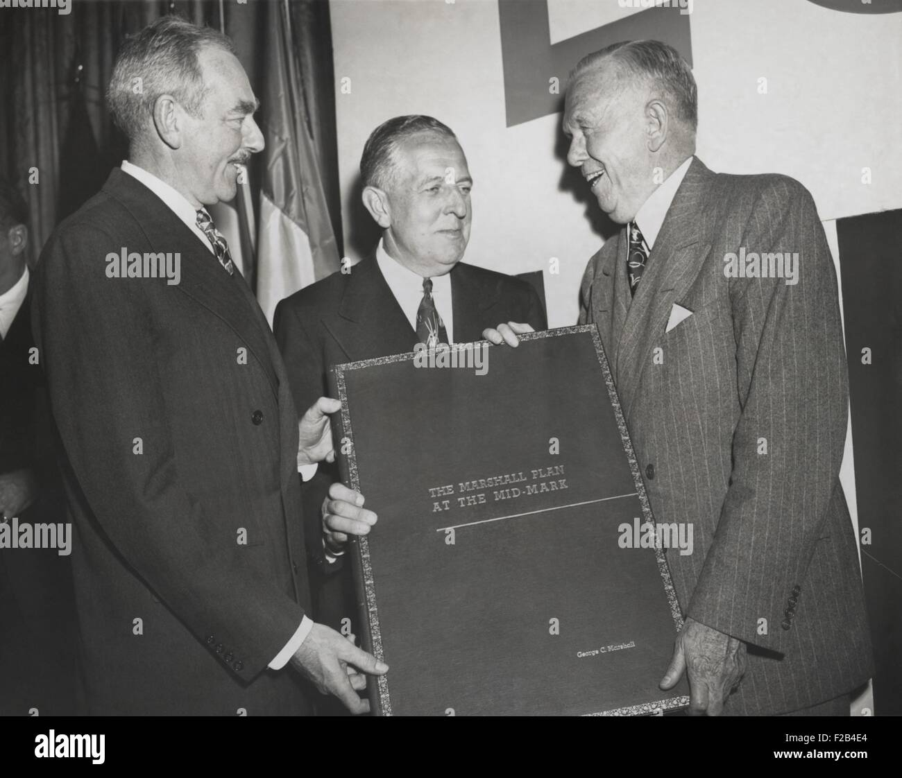 Celebration of the 2nd Anniversary of the Marshall Plan. Secretary of State Dean Acheson (left) and Economic Cooperation Stock Photo