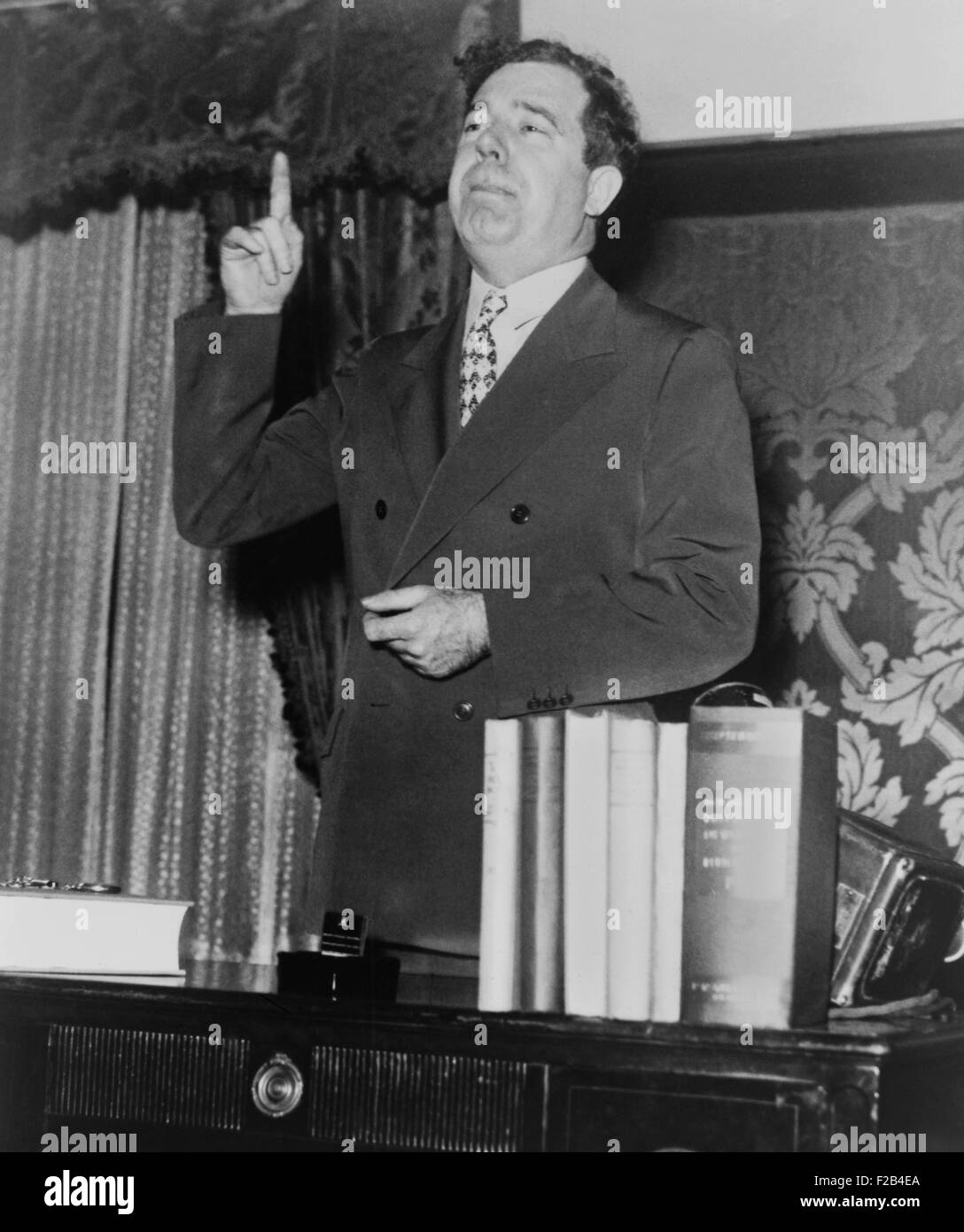 Huey P. Long in a speaking pose in 1935. He was planning to Challenge FDR in the 1936 presidential election, was - Stock Image