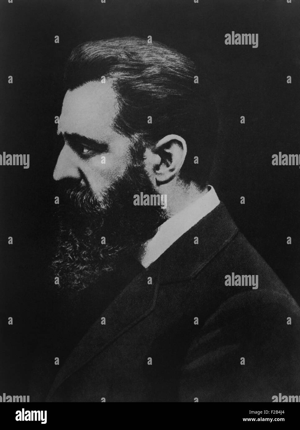 Theodore Herzl founded the World Zionist Organization in 1897. He promoted Jewish migration to Palestine to establish - Stock Image