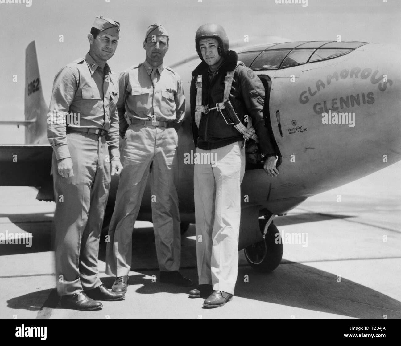 Test Pilots Capt. Charles E. Yeager, Major Gus Lundquist, and Capt. James Fitzgerald. They flew the supersonic Bell Stock Photo