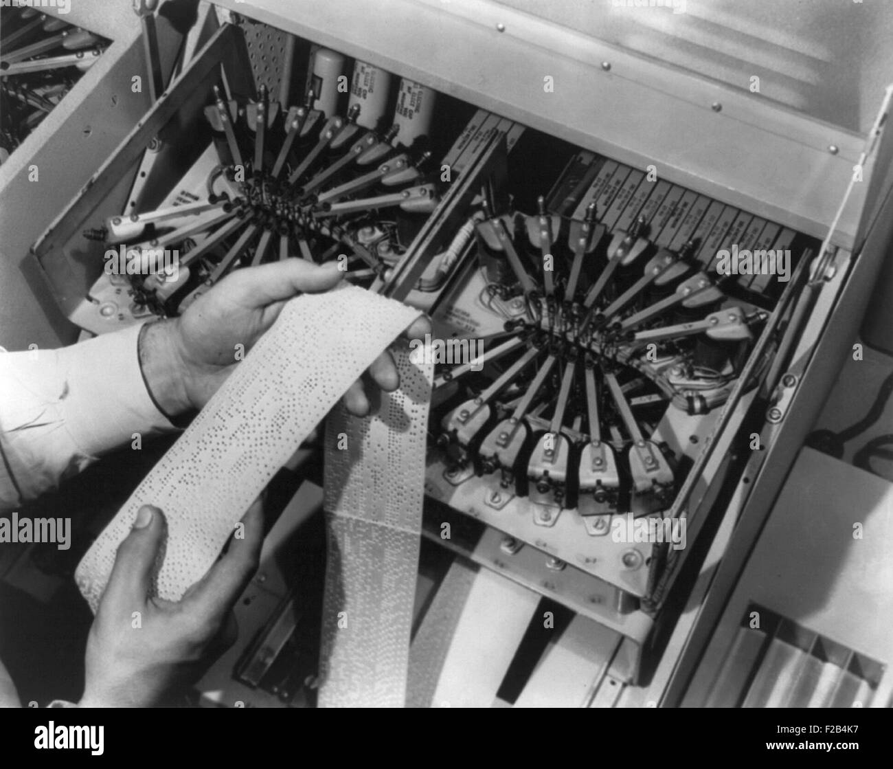 Tape-punching equipment for the automatic message accounting system at Bell Telephone laboratories. 1949. - (BSLOC - Stock Image