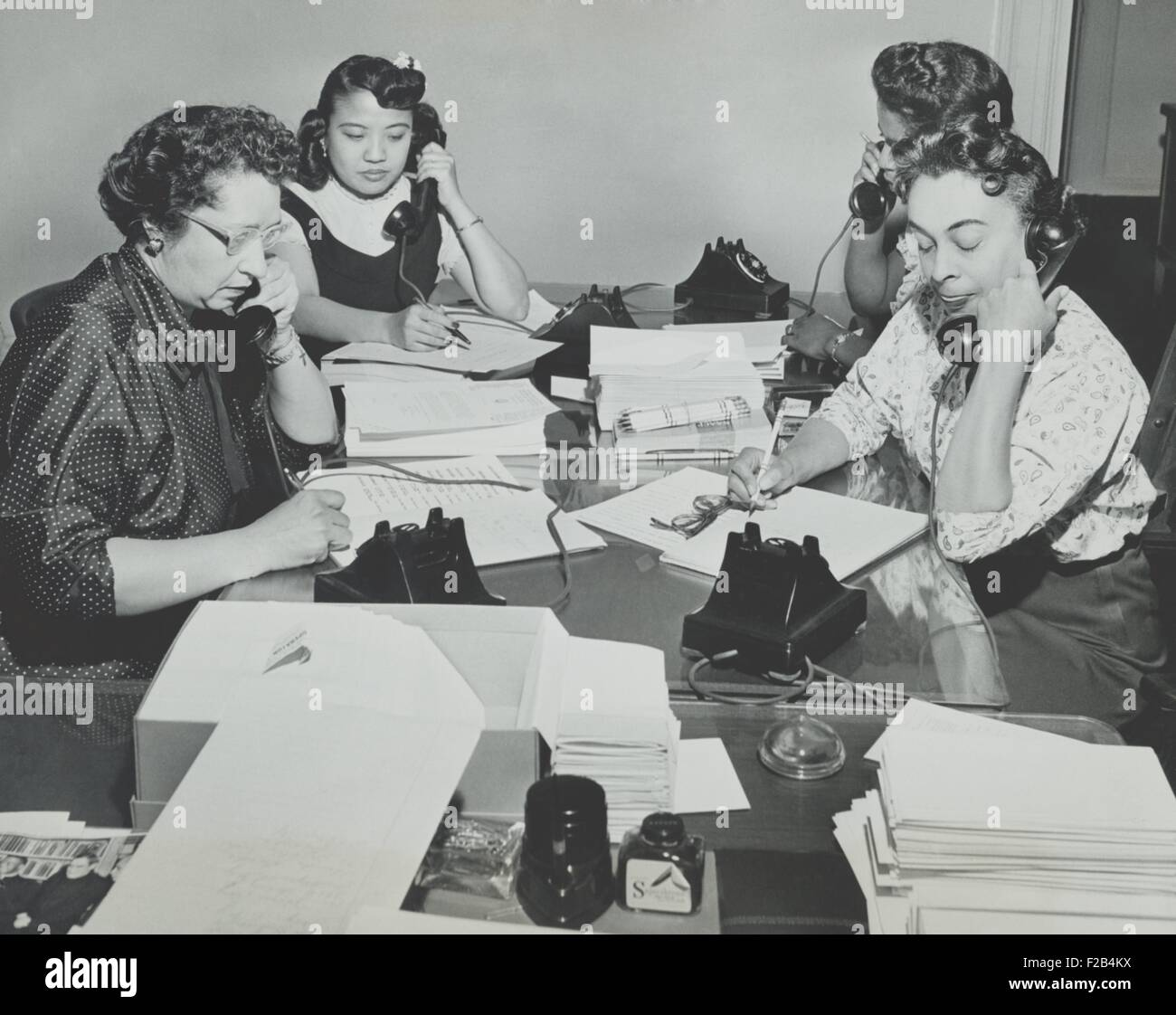 NAACP women during a membership campaign New York City, May 1955. The were recruiting new members on the first anniversary - Stock Image