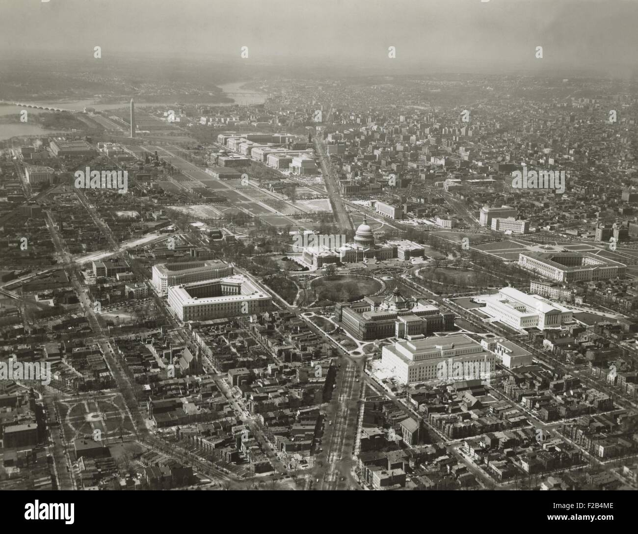 Capitol Hill transformed by new 1930's buildings. Aerial view to northwest. The additions include Library of - Stock Image