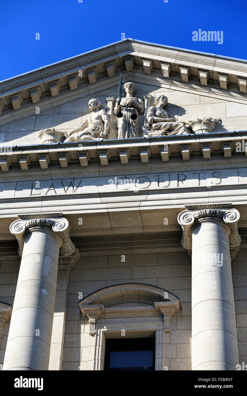 Scales of Justice on Manitoba Law Courts Building, Winnipeg, Manitoba, Canada - Stock Image