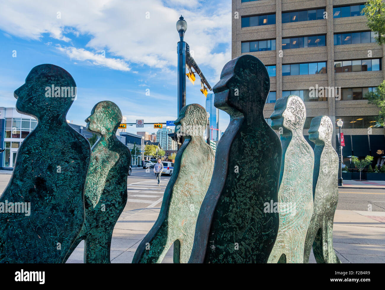 Starting Fourth sculpture by Garry Jones at 4th Street and 17th Avenue Calgary, Alberta, Canada - Stock Image